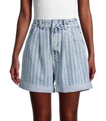 downtown high-rise striped denim cut-off shorts