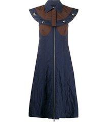 moncler 2 moncler genius 1952 cape detail midi dress - blue