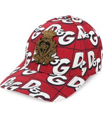 dolce & gabbana all-over logo cap - red