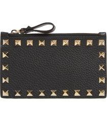 women's valentino garavani rockstud leather zip card case - black