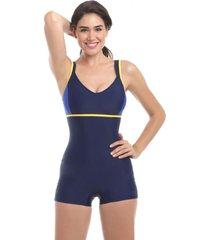 traje de baño deportivo con piernas azul marino samia