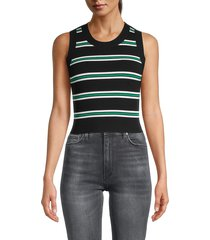 a.l.c. women's archer striped tank top - black white - size l