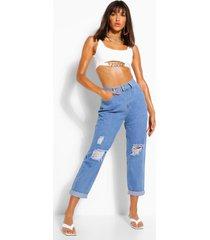 distressed dad-jeans met hoge taille, lichtblauw