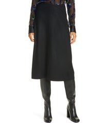 women's rag & bone yan wool a-line midi skirt, size 00 - black