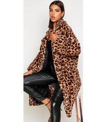 oversized luipaardprint faux fur jas, bruin