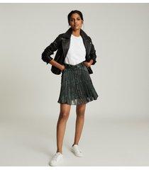 reiss orielle - snake-print mini skirt in black print, womens, size 14