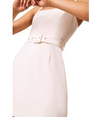 women's french connection belted straight neck dress, size 8 - white