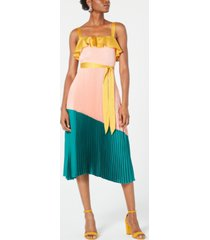 avec les filles pleated colorblocked a-line dress