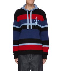 anchor embroidered stripe drawstring hoodie