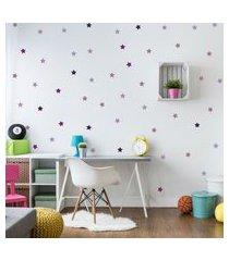 adesivo de parede quartinhos infantil estrelas roxas e lilás