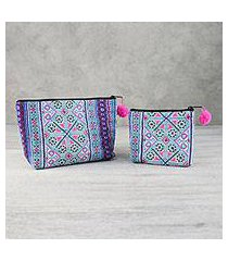 cotton blend cosmetic bags, 'sweet hmong' (pair) (thailand)
