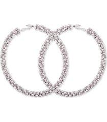 guess crystal pave large hoop earrings
