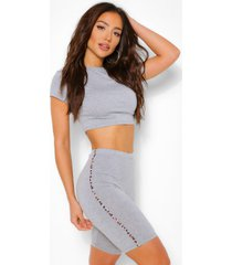 leopard stripe crop top and cycling shorts coord, grey