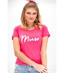 camiseta miss glamour store muse rosa chiclete - kanui