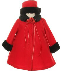 red top quality fur trim fleece cape style coat winter party flower girl