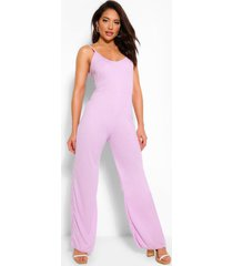 ribbed strappy wide leg slouchy jumpsuit, lilac