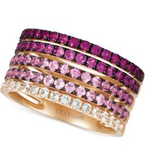 le vian strawberry layer cake multi-gemstone stack look statement ring (1-3/4 ct. t.w.) in 14k rose gold