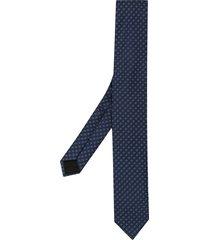 boss hugo boss micro-patterned silk tie - blue