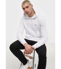 calvin klein logo embroidery hoodie tröjor white