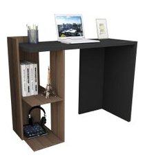 mesa para escritório sense c/ 2 nichos nogueira e preto appunto