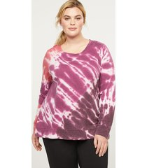 lane bryant women's livi french terry sweatshirt - tie-dye 14/16 rich merlot