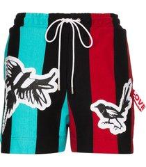 charles jeffrey loverboy magpie stripe jersey shorts - black