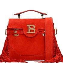 balmain b-buz shoulder bag in red suede