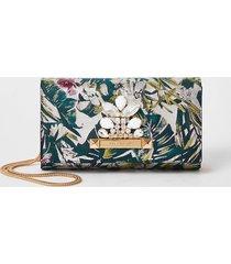 river island womens pink jacquard jewel embellish clutch bag