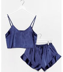 womens sheen it coming satin shorts pj set - navy