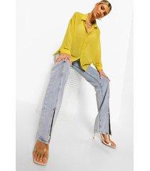 dobby mesh blouse met lange mouwen, chartreuse