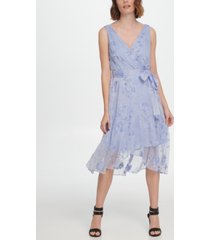 dkny sleeveless faux wrap dress