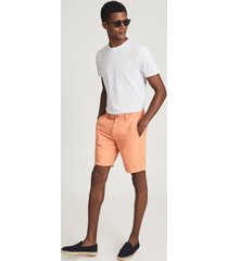 reiss ezra - cotton linen blend shorts in orange, mens, size 38