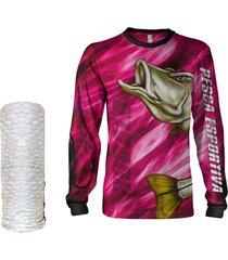 camisa  máscara pesca quisty robalo arisco rosa proteção uv dryfit infantil/adulto - camiseta de pesca quisty