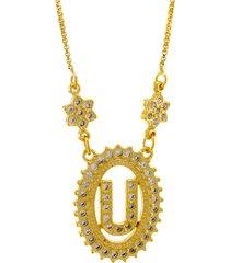 colar horus import letra u zircônias dourado