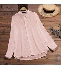 zanzea mujeres botones abajo largo tapas de la camisa señoras flojas de la solapa de tapas de la blusa del tamaño extra grande -rosado