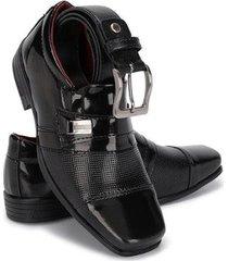 kit sapato social infantil cinto schiareli masculino - masculino