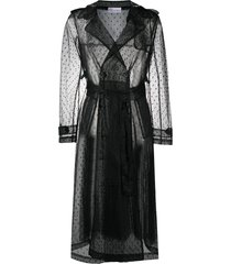 red valentino sheer belted trench coat - black