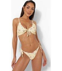 bloemen bikini top met strik en franjes, lemon