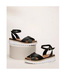 sandália feminina malu espadrille flatform com tiras cruzadas preta
