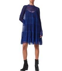 women's allsaints briella lace long sleeve dress, size 4 - blue
