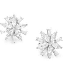 adriana orsini women's rhodium-plated sterling silver & cubic zirconia cluster flower earrings