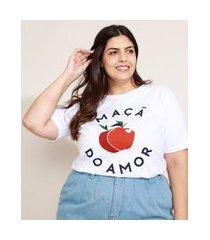 """t-shirt feminina plus size mindset maçã do amor"""" manga curta decote redondo branca"""""""