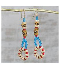 recycled glass and wood beaded dangle earrings, 'eclectic assemblage' (ghana)
