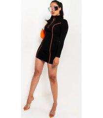 akira bring it on front zip longsleeve mini dress