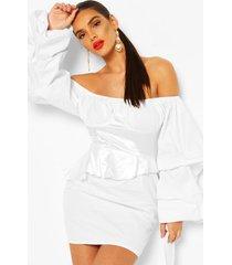 off the shoulder peplum corset mini dress, white