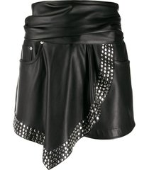 studded faux-leather shorts