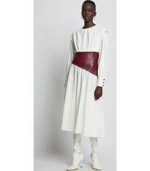proenza schouler leather waistband dress white/bordeaux 6