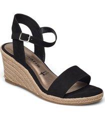 woms sandals sandalette med klack espadrilles svart tamaris