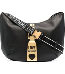 love moschino logo strap hardware detail shoulder bag - black