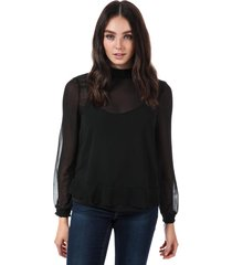 vero moda womens becca long sleeve chiffon top size 14 in black